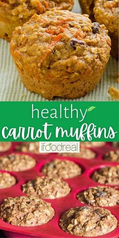 This Healthy Carrot Muffin recipe is made with applesauce, oatmeal or oat bran, whole wheat flour and honey. These muffins are so delicious, moist and filled with nutritional goodness. Your family will love them! Healthy Carrot Muffins, Healthy Muffin Recipes, Breakfast Recipes, Healthy Food, Bran Muffins, Oatmeal Muffins, Applesauce Muffins, Baked Goods, Carrots
