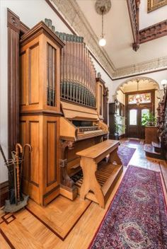 Mission Victorian Tour: John Coop House - Foyer. A retired scientist, Tyler repairs and rebuilds organs for fun - the house is filled with stunning examples.