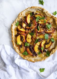 Shredded Duck and Peach Pizza