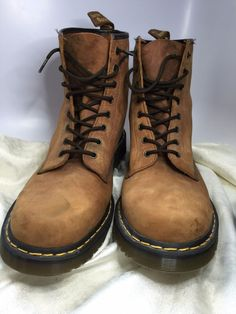 Dr Doc Martens Boots 1480 Nubuck Suede Brown Size 15 US Airwair Air Cushion Sole #DrMartens #WorkSafety