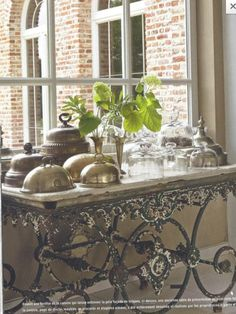 I love old french pastry tables.   Imagine all of the goodies that were shared around this table.