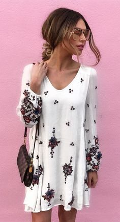 #fall #outfits  women's white and black floral long sleeve top #jeansjacket