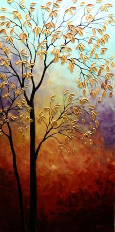 Original Autumn Tree Painting Abstract by NataSgallery on Etsy: