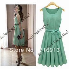 2013 New Fashion Korea Women's Elegance Bow Pleated Vest Chiffon Dress Round Collar Sleeveless Dress Free Shipping 10259-in Dresses from Apparel  Accessories on Aliexpress.com $11.20