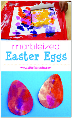 Marbleized Easter egg craft | This is a great Easter craft to do with the kids! So beautiful! | Made with shaving cream and liquid watercolors | #sensoryart #Easter #preschool || Gift of Curiosity Easter Crafts For Toddlers, Easter Egg Crafts, Easter Art, Toddler Crafts, Easter Eggs, Crafts For Kids, Easter Ideas, Preschool Eggs, Preschool Ideas