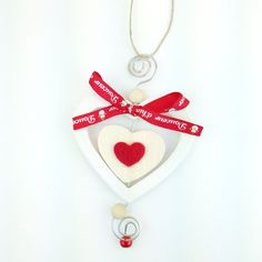 Cuore Bianco Pupazzo di Neve handmade wood heart decoration only by Daffodil Bijoux