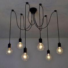 Lixada Hanging Chandelier Light, 6Lamps, 6 Arm, E27 0.00 wattsW 110.00 voltsV: Amazon.co.uk: Lighting