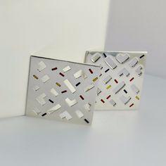 Square Modernist Sterling Earrings - Large SPRINGNOW 15% Off! #AbstractEarrings #ModernistEarrings https://OrderOfDisorder.etsy.com