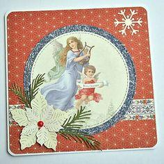 KvetaP / Vianočná pohľadnica Scrapbooks, Decoupage, Disney Characters, Fictional Characters, Christmas Cards, Merry, Disney Princess, Vintage, Art