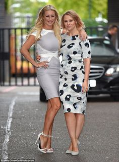 Joined forces: Kimberley Walsh and Denise van Outen arrived at London's ITV studios on Thu...