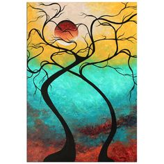 Megan Duncanson 'Twisting Love Iii' Colorful Contempoarary Landscape Painting Giclée on