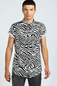 zebra print short sleeve shirt