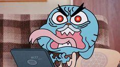 """"""" عندما تتراكم عليك الأمور السيئه املأ بطنك بما لذ وطاب ثم ضع رأسك على الوسادة واخلد في نوما عميقا """" - غامبول Cartoon Faces, Cartoon Art, Gumball Image, Funny Cartoon Memes, Telegram Stickers, World Of Gumball, Anime Crossover, Vintage Cartoon, Disney Memes"""