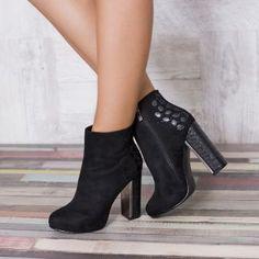 Botine catifea elegante cu toc inalt gros Booty, Shoes, Fashion, Chic, Zapatos, Moda, Swag, Shoes Outlet, Fashion Styles