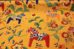 Swedish Fabric > Swedish Dala Horse Fabric - Gold 100% cotton fabric from Sweden for pillows, curtains, tablecloths, bags, ve Swedish