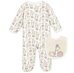 Your baby boy will be cute and comfortable in this Safari footie & Bib set. The adorable one-piece footie is decorated with all over animal print, safari appliqué and matching bib with Velcro closure. Outfit is 100% cotton, and snaps from the neckline to feet for easy dressing. Long sleeves are perfect for extra comfort. It's the perfect first outfit for your newborn coming home from the hospital!