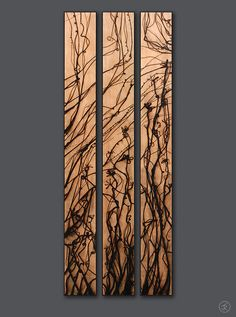 Panels with molten-glass-wood-burned design. Just for the record I don't think anyone wil be doing this any time soon but I felt obliged to Pin it just the same. Some very interesting stuf from this young man ;)