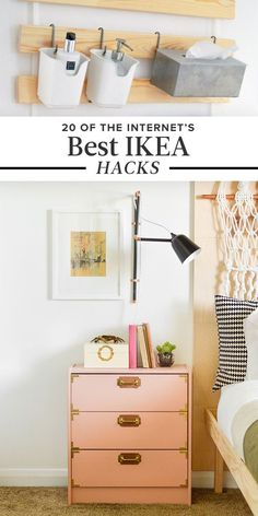 This complete list of the best DIY IKEA hacks for every room in your house will help you decorate on a budget! Try these amazing IKEA hacks for your apartment or home to save money and still have beautiful home decor! Home Diy, Ikea Nightstand, Ikea Diy, Home Organization, Diy Furniture, Diy Home Decor, Home Decor, Best Ikea, Room Decor