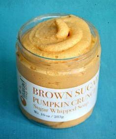 Brown Sugar Pumpkin Whipped Soap:   Sweet baked pumpkin with golden crisp brown sugar and butter crumb topping. We've added the highly emollient sweet almond oil to help soften and smooth skin. Fine sugar gently polishes and softens skin, with tons of bubbly lather.