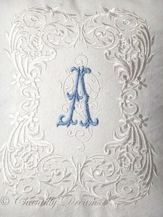 Items similar to Custom Embroidered Victorian Whitework Monogram Cushion or Pillow Cover on Vintage French Metis on Etsy Embroidery Monogram, White Embroidery, Ribbon Embroidery, Embroidery Stitches, Embroidery Patterns, Machine Embroidery Projects, Linens And Lace, Needlework, Textiles