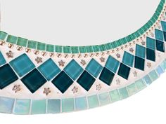 Round Silver And Teal Mosaic Wall Mirror // Mixed Media Mosaic // Bathroom Mirror by GreenStreetMosaics on HeartThis