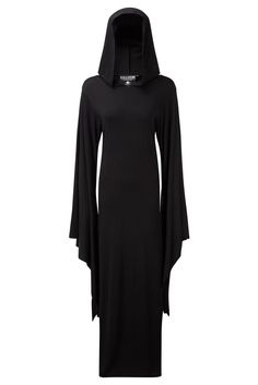 CONJURING. Cast the Circle - Summon the Spirit.  - Silky Soft Fabric.- Large Hood & Flared Sleeves.- Floor Length, with side-splits.- Fitted. Ritualistic &a