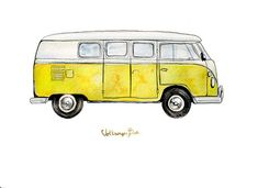 """Volkswagon Bus in your choice of five colors, classic automobile watercolor print, 8x10"""""""