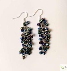 Shaggy Loops Earrings with Dark Rainbow beads