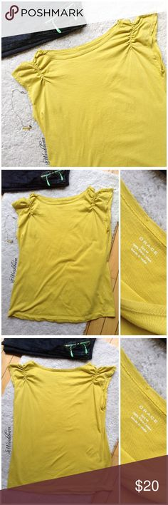 Grace Prima Cotton Mustard Blouse Great Condition. No stains, no rips. Pin size hole (see pic #4), only on the inside of blouse. Fabric is doubled-up so there is no hole on outside of blouse. Feel free to ask questions or make an offer. NO TRADES Grace Tops