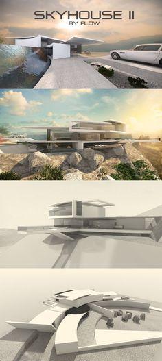 Futuristische Villa am Hang - Designstudie SKYHOUSE II by flow.studio. Bogenförmige Grundform mit Flachdach.