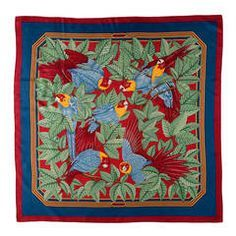 'Parakeets' -  A delightful, Hermes Silk Scarf