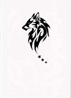 Tribal Wolf Tattoo Idea...three stars or three circles or three paws...mirorred...on the back as if wings