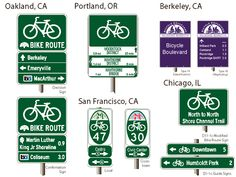 Bicycle wayfinding signs