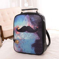 Fashion Trend Of Korean Style Women Graffiti PU Leather Backpack College Teens Student School Bag Inkjet Printing Portable Bag