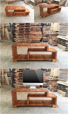 Placing a wonderful and simple designed wood pallet media table in the household do gives you the superb idea to add something effective in your house. This wood pallet brilliant media table is included with dissimilar divisions of shelves. Give a look at it right now!