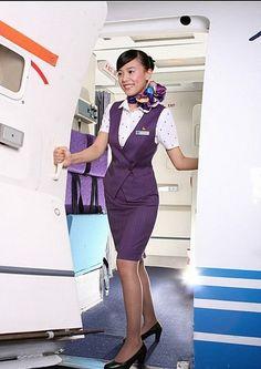【China】 Xiamen Airlines cabin crew (old uniform) / 厦門航空 客室乗務員 旧制服 【中国】 Airline Attendant, Flight Attendant, Airline Uniforms, Air China, Xiamen, Cabin Crew, Sexy Stockings, Silk Scarves, Peplum Dress