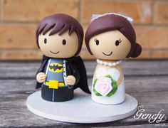 Cute superhero wedding cake topper Bat Groom by GenefyPlayground, £88.00