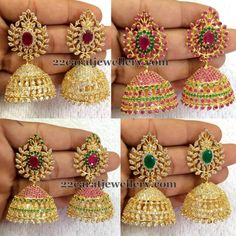 Price For Gold Jewelry Info: 9129075178 1 Gram Gold Jewellery, Silver Jewellery Indian, Indian Jewellery Design, Jewelry Design, Gold Jhumka Earrings, Indian Earrings, Antique Earrings, Jewellery Earrings, Jewelry Necklaces