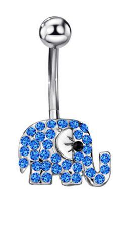 Cute Elephant Rhinestone Body Piercing Belly Button Rings