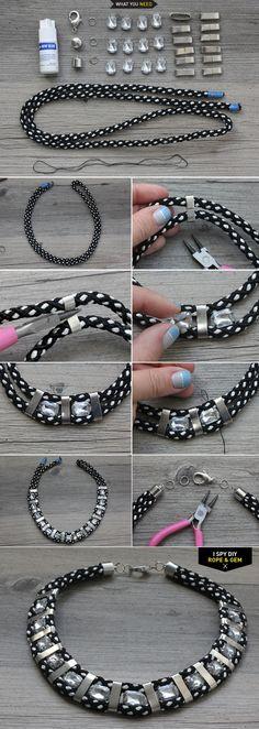 MY DIY   Rope  Gem Necklace   I SPY DIY