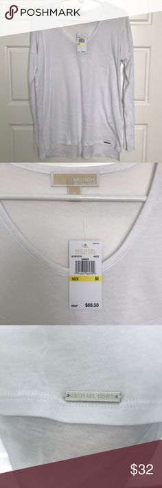 🆕 Michael Micheal Kors White Long Sleeve Top NWT- Michael by Micheal Kors White Long sleeve shirt. The front hem is about 3 in higher than the back.   60% Cotton 40% Modal   If you need more measurements, let me know!  Pit to pit- 20in Length- front 24 back 27 Waist- 19in Offers accepted Bundle and save MICHAEL Michael Kors Tops Tees - Long Sleeve