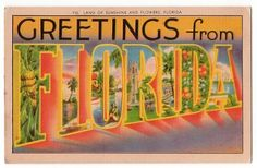 "Greetings from Florida  Florida - named on Easter Sunday by Ponce deLeon, after the term, Pascua Florida, meaning ""Flowery Easter"", was given the name ""Sunshine State"" in 1970."