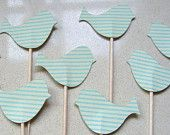 Little Bird Cupcake Toppers/Party Picks Teal stripe. Birthday, nature, baby shower, kitchen tea, love birds, easter pastel, party decor