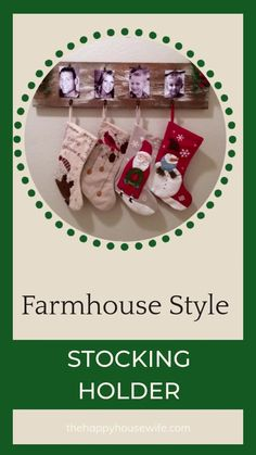 Enjoy a rustic Christmas with this no mantle stocking holder. Mount it to any wall in your home to hold all your Christmas stockings.  If you want it to hold stockings full of gifts make sure you mount it securely to studs.  Use a piece of recycled wood to create this fun holiday DIY project. You don't need a fireplace to hang stockings anymore!