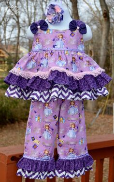 Sofia The First OUtfit ... 3pc. Ruffle Pinafore top , Ruffle PAnts and Headband set on Etsy, $54.00