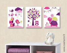 Lot de 3 illustrations pour chambre de bébé et d'enfant fille rose violet vert oiseau tortue chouette réf.81 : Décoration pour enfants par cashemir