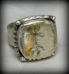 Dendritic Quartz Cocktail  Ring Silver and Stone  by Marajoyce, $145.00
