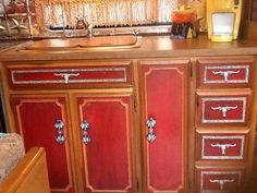 Refinished cabinets in vintage Avion trailer.