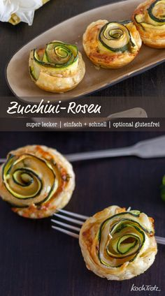 zucchinirosen-kochtrotz-kreative-rezepte/ - The world's most private search engine Party Finger Foods, Snacks Für Party, Zucchini, Kids Meals, Easy Meals, Snack Recipes, Cooking Recipes, Puff Pastry Recipes, Food Facts