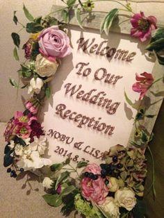 ウェルカムボード 刺繍 花 Welcome Board stitch flower